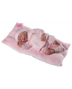 Muñeca Baby Reborn Daniela,traje y gorro de perlé rosa. Sin pelo. Mide 46 cms. Peso 1,800kg. Tacto suave