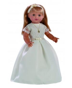 Muñeca María comunión vestido beig. 50 cms. Muñeca comunión con mecanismo y vela.