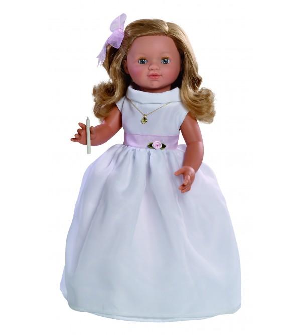 Muñeca María comunión vestido blanco. 50 cms. Muñeca comunión con mecanismo y vela.