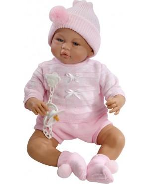 Muñeca Vera, pantalón corto y jeresy rosa con gorro y peucos