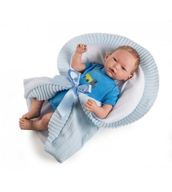 Muñeco Baby Reborn Mario.Body azul y mantita de lana. Pelo especial ( leer descripción*). 46 cms. 1,800kg. Tacto suave.