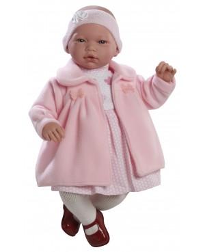 Muñeca Nadia, vestido y abrigo rosa con diadema.46 cms