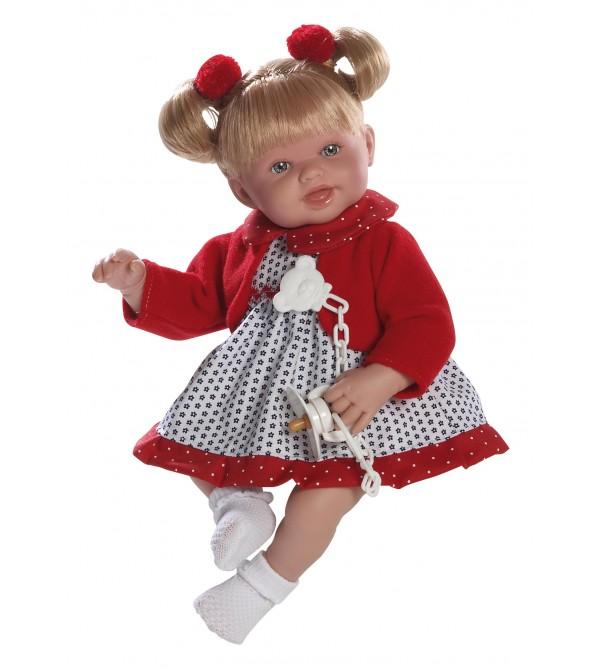 Muñeca Brenda, vestido azul marino y rojo. Pelo rubio con 2 colas. 38 cms