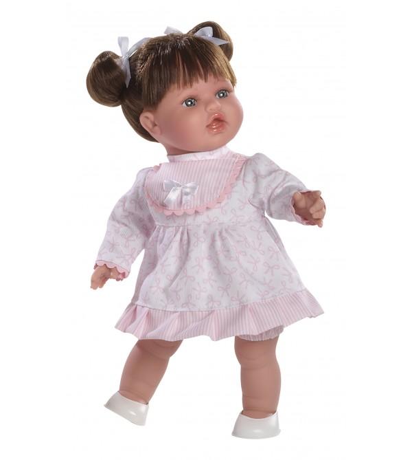 Muñeca Anna, vestido rosa y pelo moreno con 2 colas. Cuerpo blandito, 32 cms