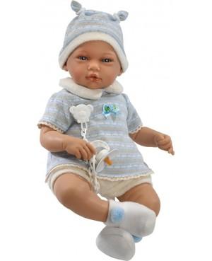 Muñeco Adrián, pantalón corto beig, jeresy azul y gorro con oreijitas