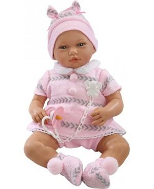 Muñeca Nadia, pantalón corto beig, jersey y gorro rosa