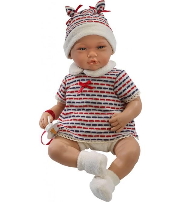 Muñeco Adrián pantalón beig y jersey azul marino y rojo con gorro