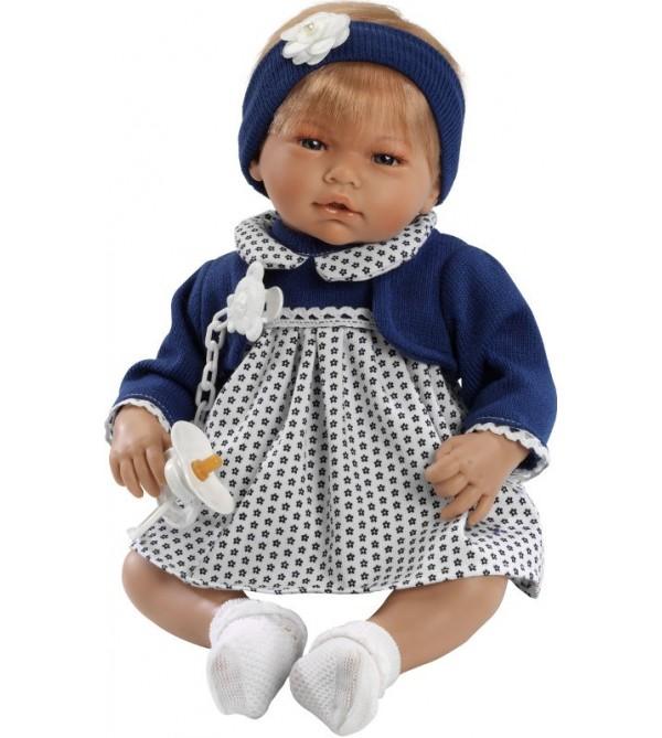 Muñeca Alba con vestido blanco con flores azul marino y chaqueta azul marino