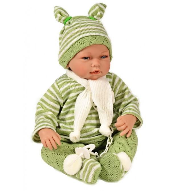 Muñeco Samuel, pantalón, jeresy y gorro verde y blanco