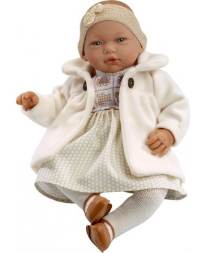 Muñeca Nadia, vestido y abrigo beig con leotardos