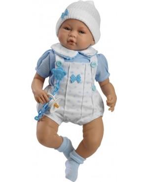 Muñeco Iker, pelele blanco con camisa azul y gorro