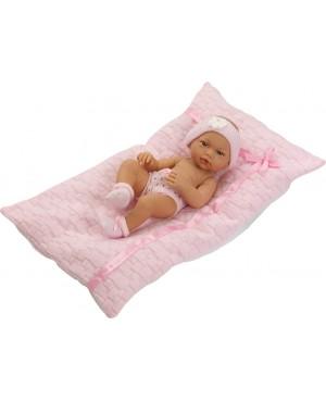 Muñeca recién nacida con braguitas, diadema, peucos y cojín rosa